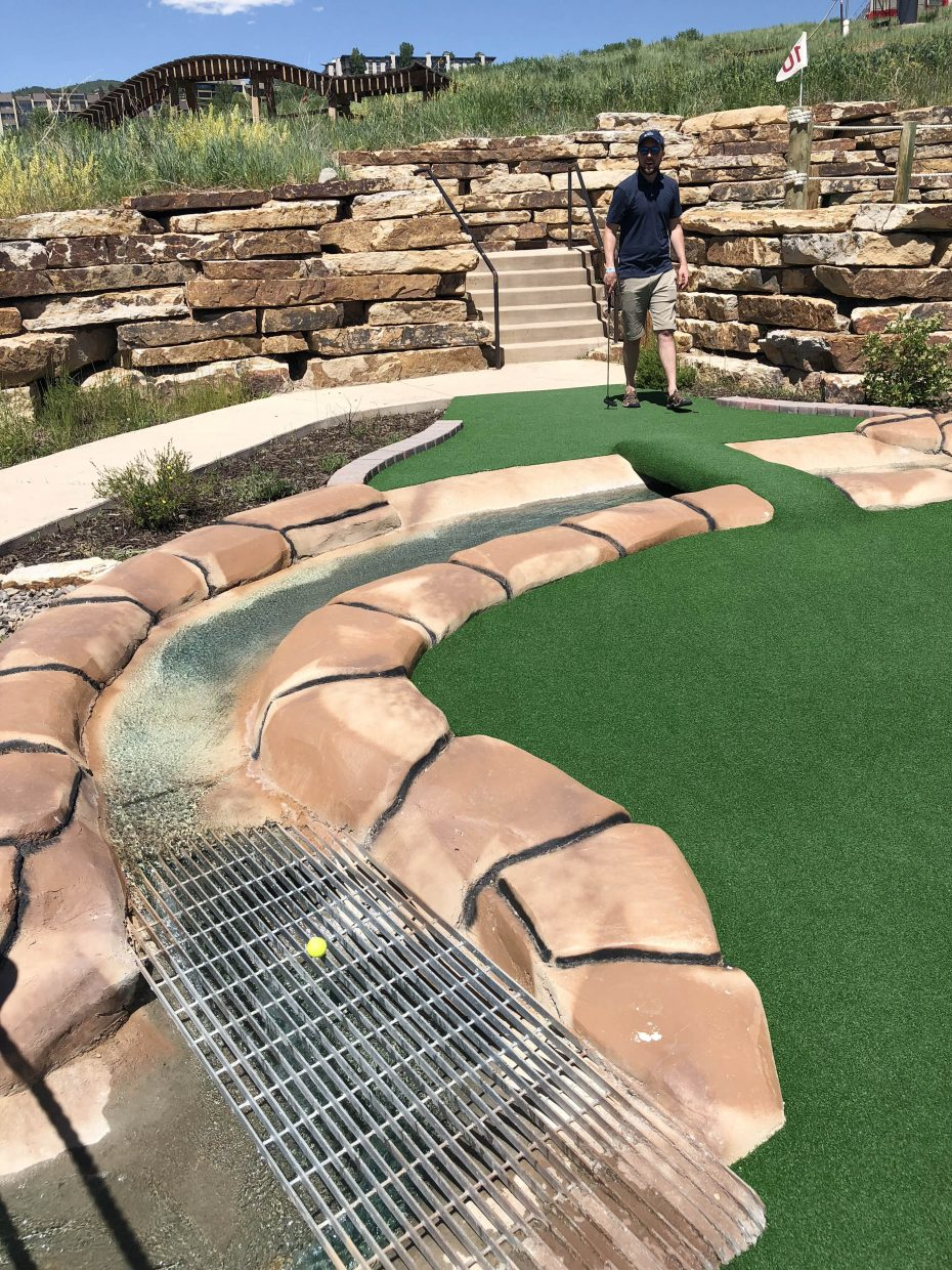 Going in the water on the Maverick Mini-Golf course can be a good thing.