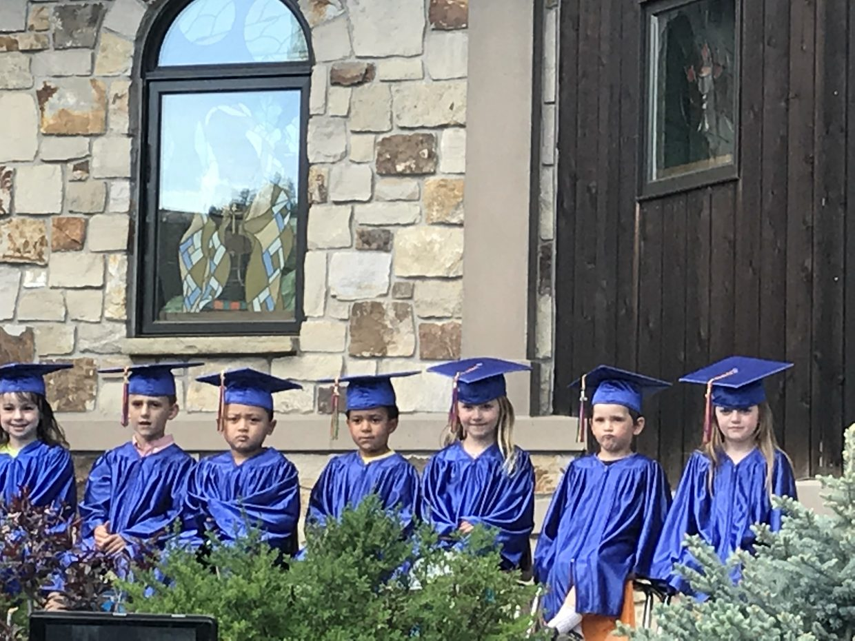 Some of the 2018 graduating class at Holy Name Preschool. Proud to be Americans, and thankful to have room to grow, knowing their learning journey had only just begun.