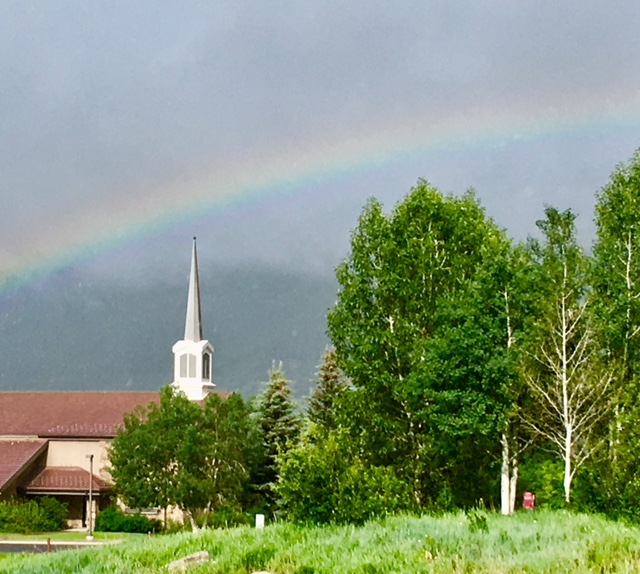 A rainbow appears in Steamboat Springs.