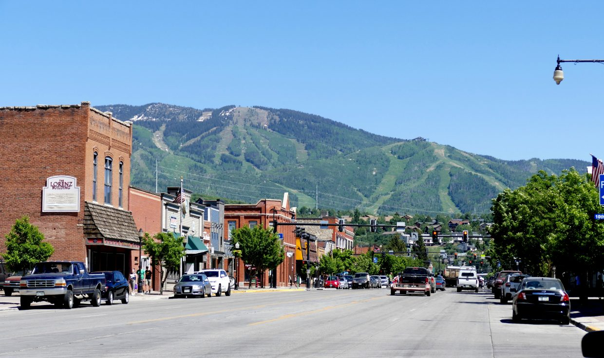 Downtown Steamboat Springs bathed in sunshine.