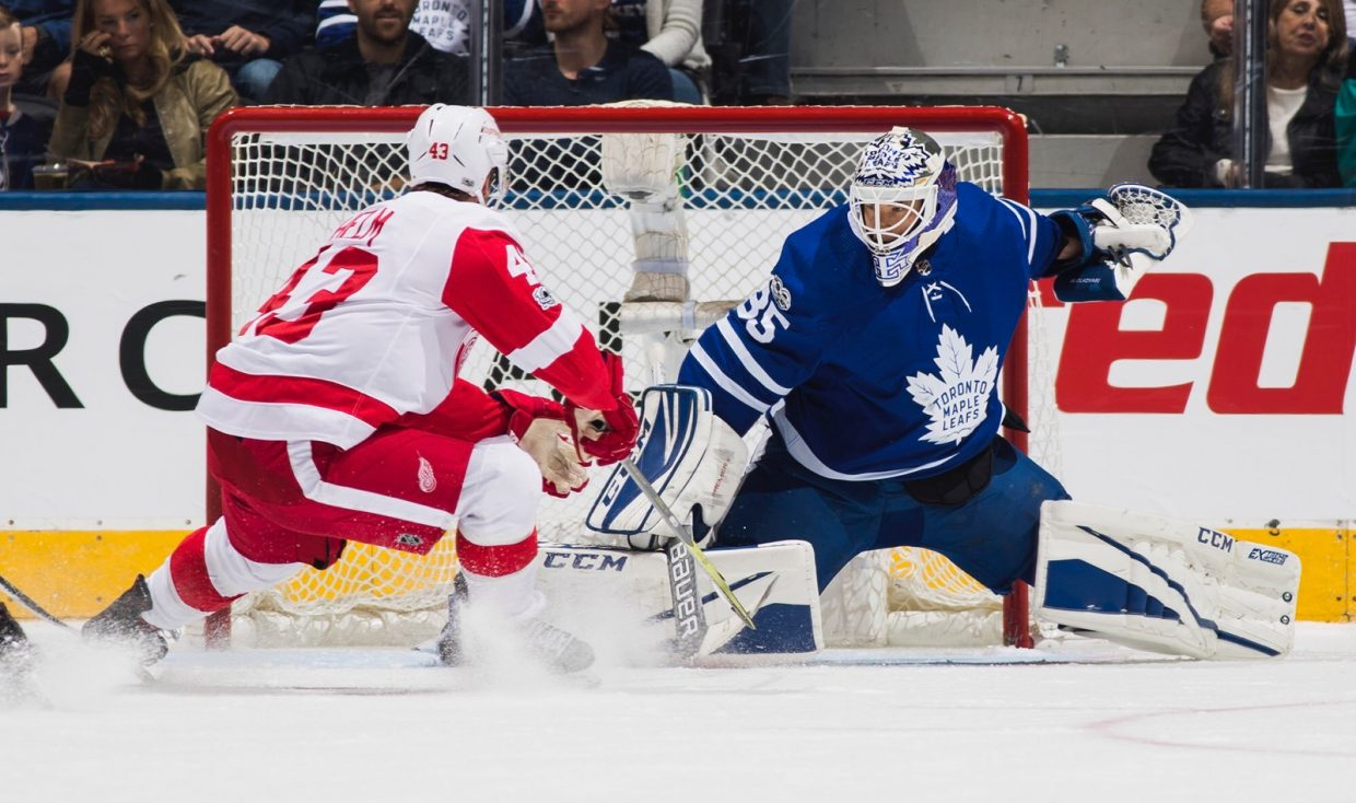 Curtis McElhinney, #35 of the Toronto Maple Leafs, makes a save at the Air Canada Centre last fall in Toronto, Ontario, Canada. (Photo by Mark Blinch/NHLI via Getty Images)