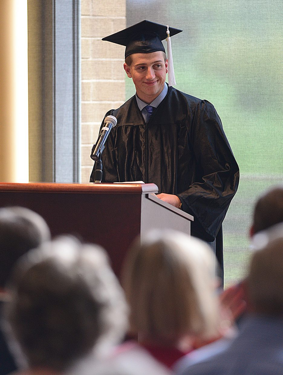 Jack Ringer speaks to his classmates and the audience during the Yampa Valley High School graduation ceremony Friday at CMC.