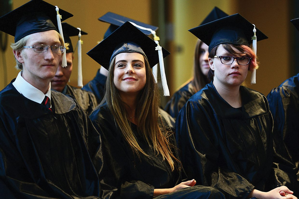 Hayden Entress smiles during the Yampa Valley High School's 2018 graduation Friday afternoon inside the Albright Auditorium on the Colorado Mountain College campus. The school honored nine senior students including Entress during the 2018 commencement ceremony.