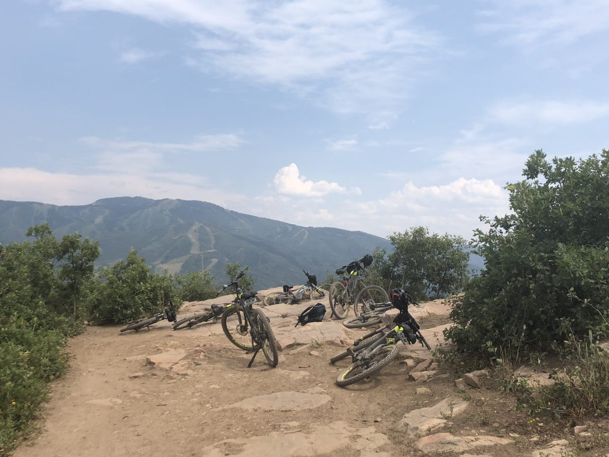 Electric bikes up Emerald Mountain.