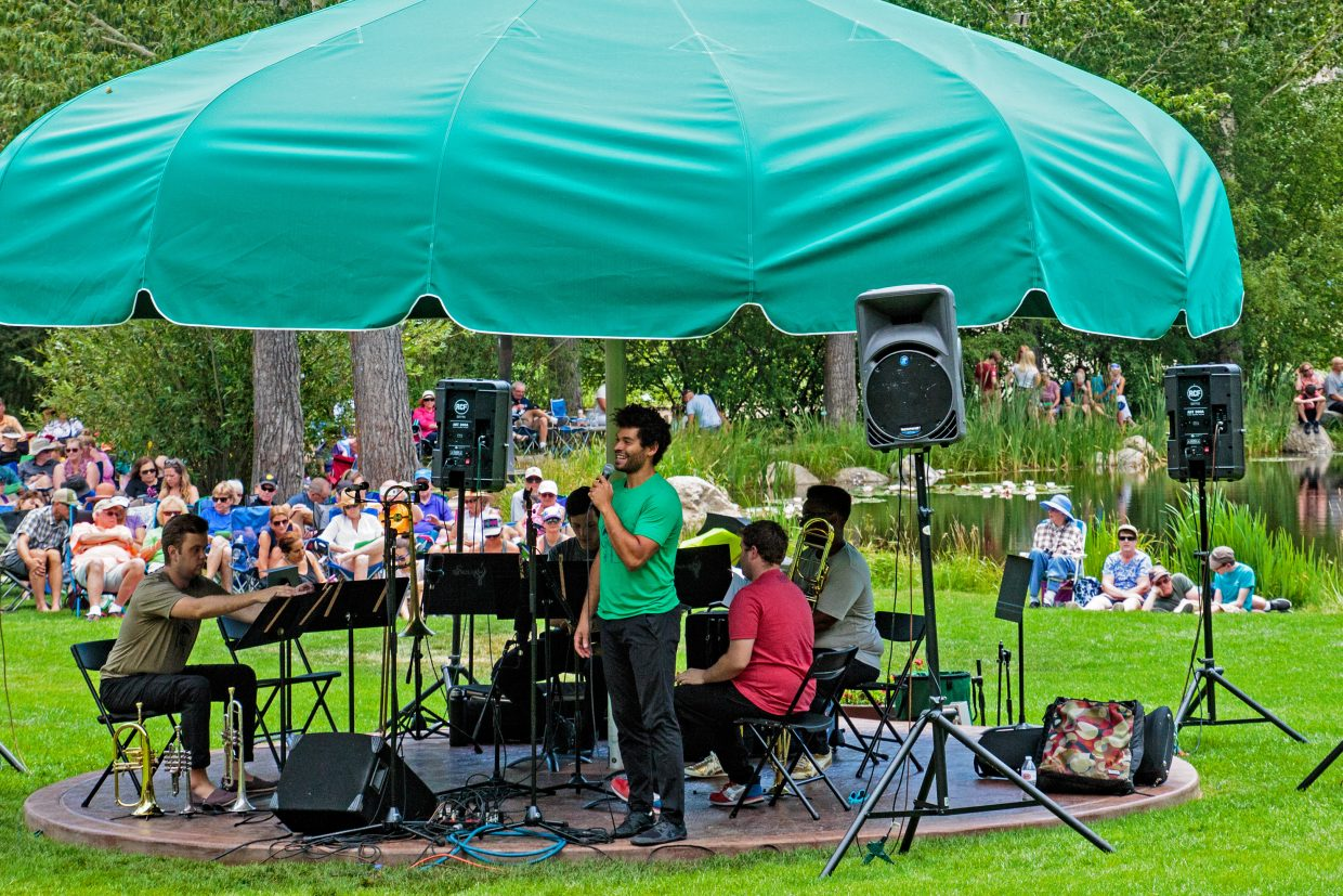 Music on the Green at Yampa River Botanic Park on July 26. C Street Brass draws a crowd.