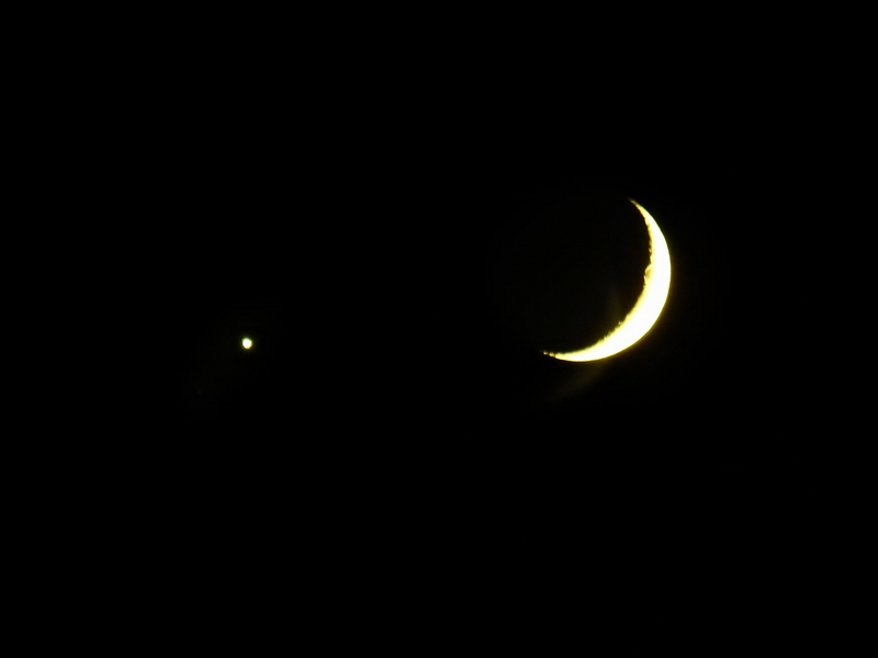 Moon and Venus over Steamboat.