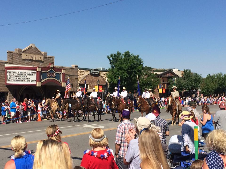 Horses march down Lincoln Avenue during the Fourth of July parade.