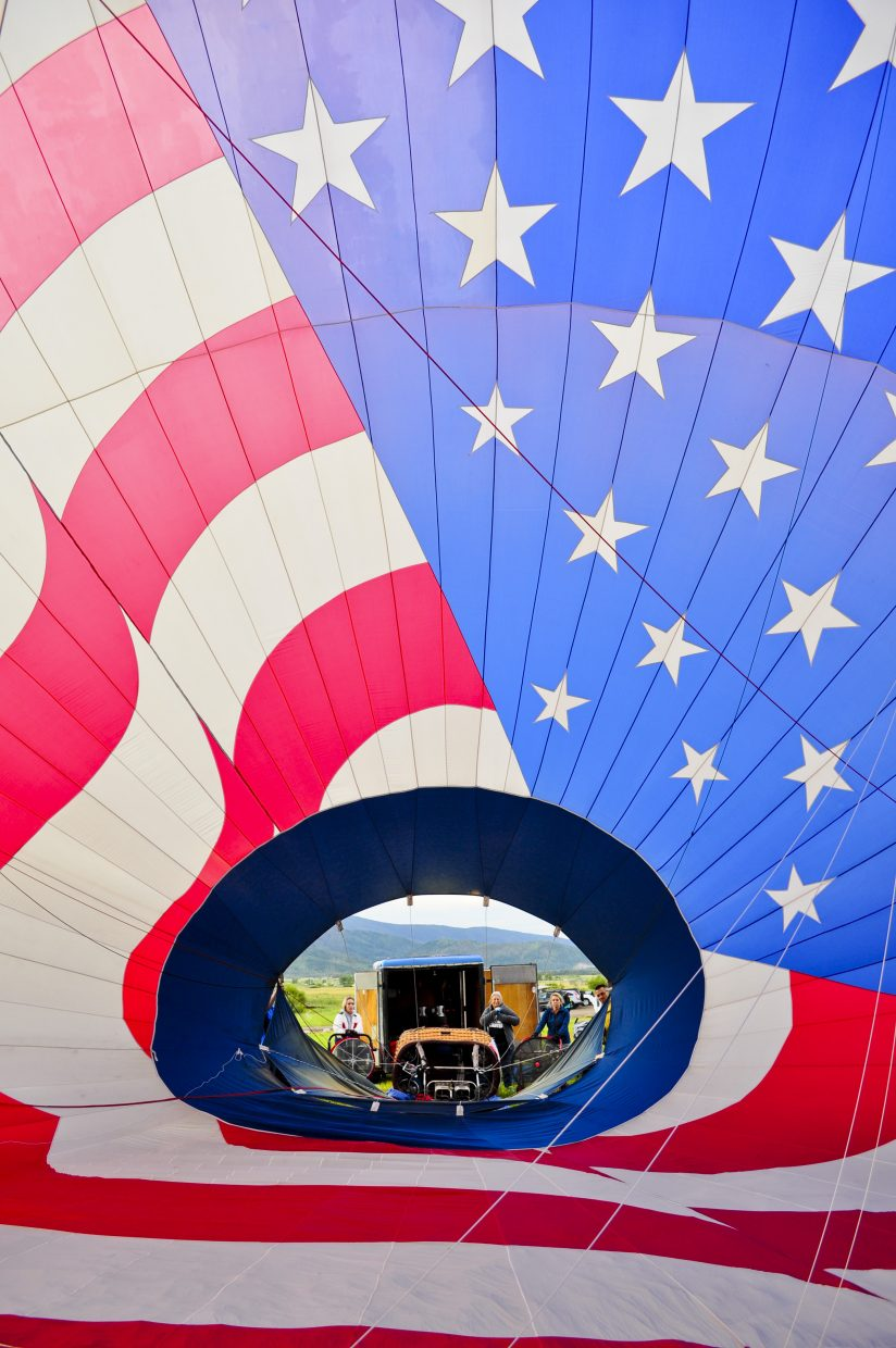 The view from inside Tim Taylor's Dee 3 hot air balloon before the 37th annual Hot Air Balloon Rodeo on Saturday and Sunday at Bald Eagle Lake.