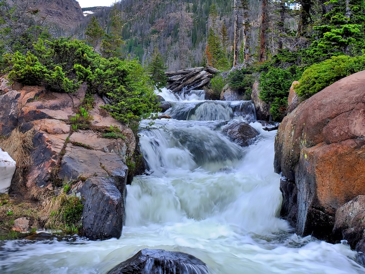 Water rushes from Rainbow Lake in the Mount Zirkel Wilderness Area.