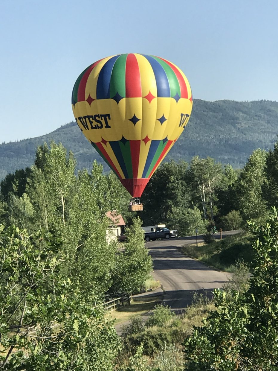 A hot air balloon makes a surprise landing at Blue Sage Circle in Steamboat Springs.