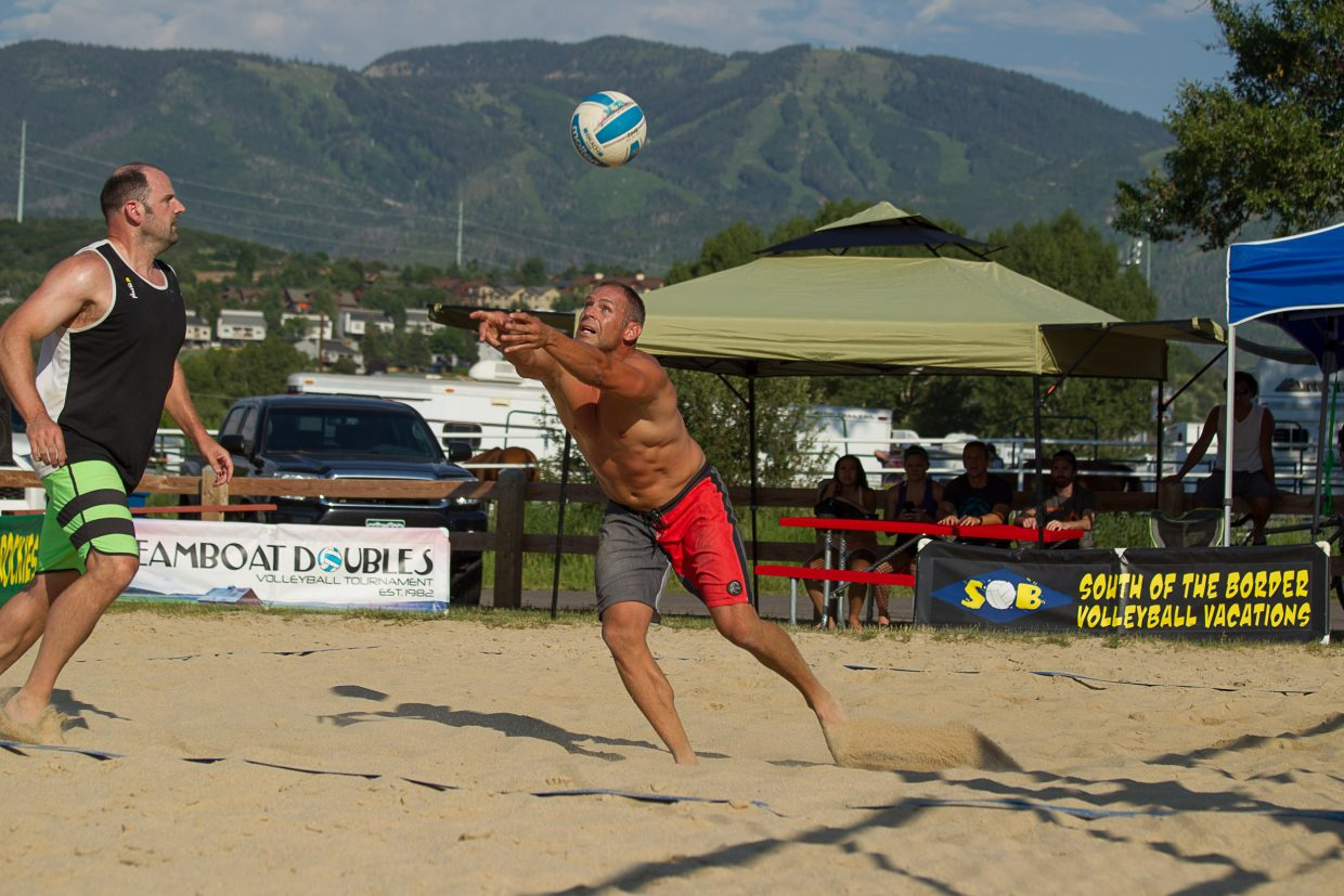 The men's dino champion team pass during the recent Volleyball of the Rockies Tournament at Howelsen Park.