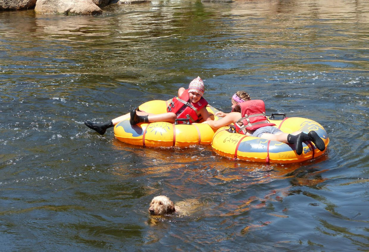 Two tubers and a dog enjoy time on the Yampa River.