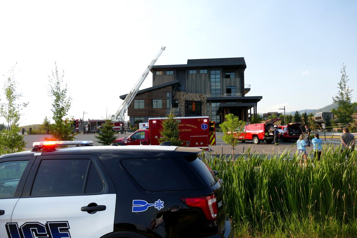 """A fire in the Deer Park Road Corp. building in Wildhorse Meadows in Steamboat Springs. It is next to the Meadows Parking Lot, at 1195 Bangtail Way. Steamboat Springs Fire Chief Mel Stewart said, """"We got called for a possible structure fire. It sounded like it was their pizza oven (at Brick, a pizza place). When we arrived on scene, we had significant smoke coming from the west side of the building and that's about all we know right now."""""""