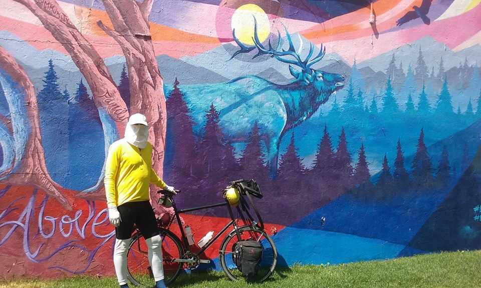 Ben, a cyclist, passed through Craig on Saturday on his biking adventure from Maine to Los Angeles, California, and back.