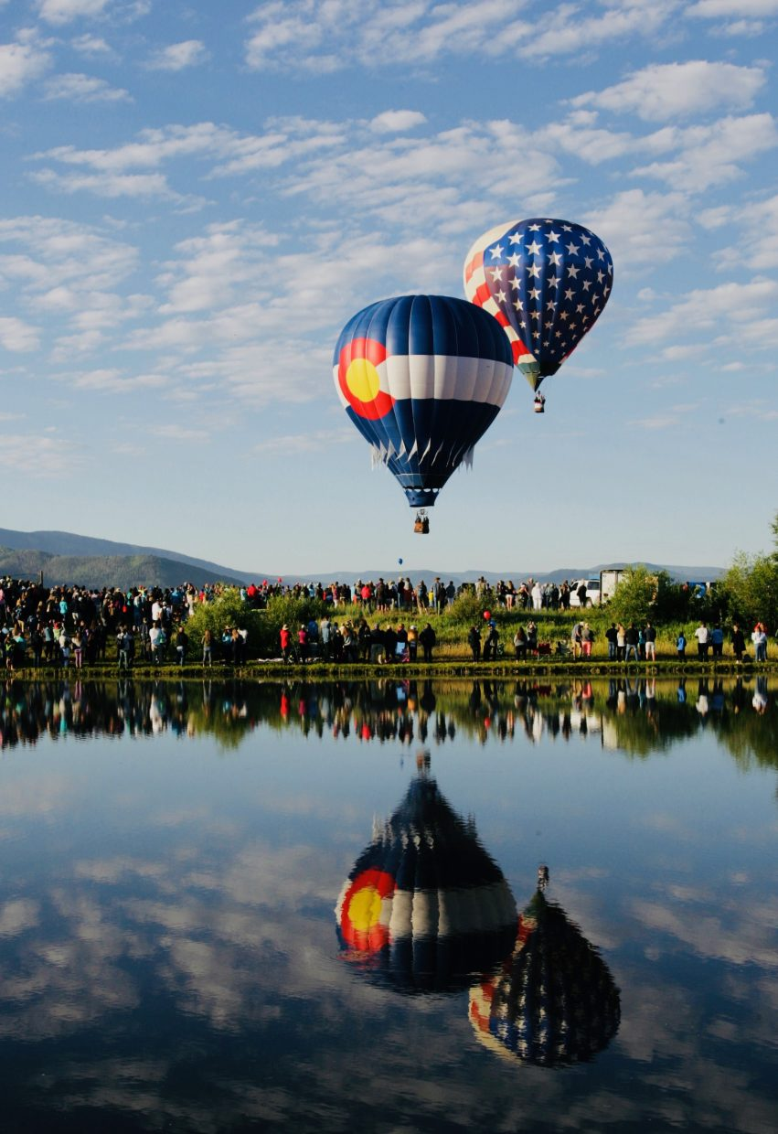 Up, Up, and Away. Saturday's Balloon Rodeo, Colorado & American Flag Balloons