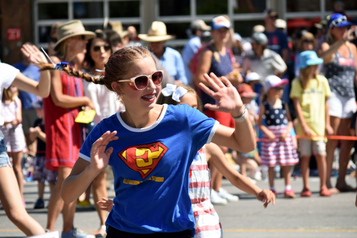 A dancer performs as part of Elevation Dance Studio's routine during Steamboat's Fourth of July parade Wednesday morning.