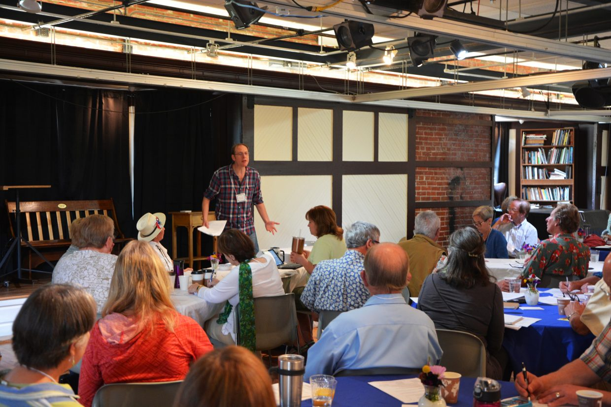 Author John Cotter walks participants through the different types of third person writing during the 2018