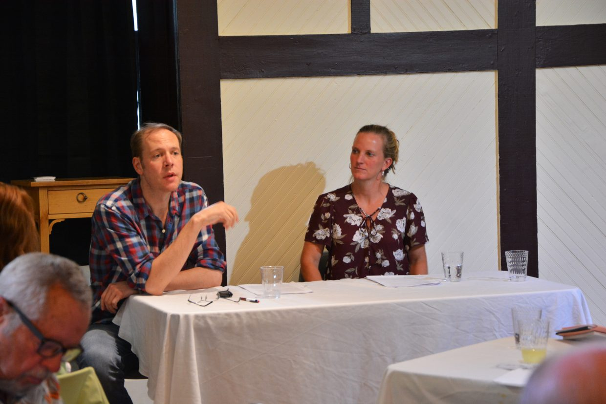 Authors John Cotter and Rachel Weaver answer questions from the audience to close the conference.