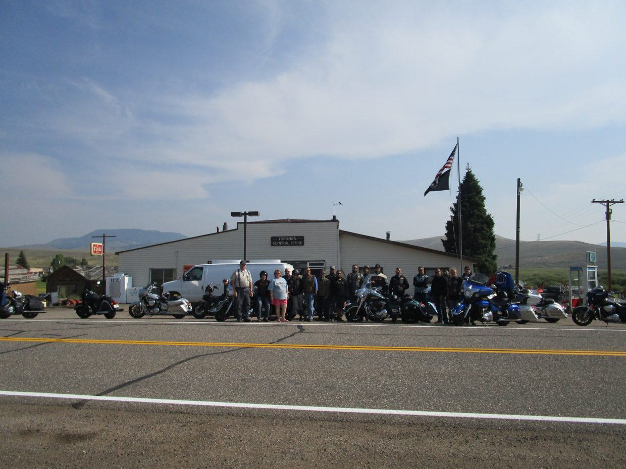 Veteran's Charity Motorcycle RIde stopped by Toponas.