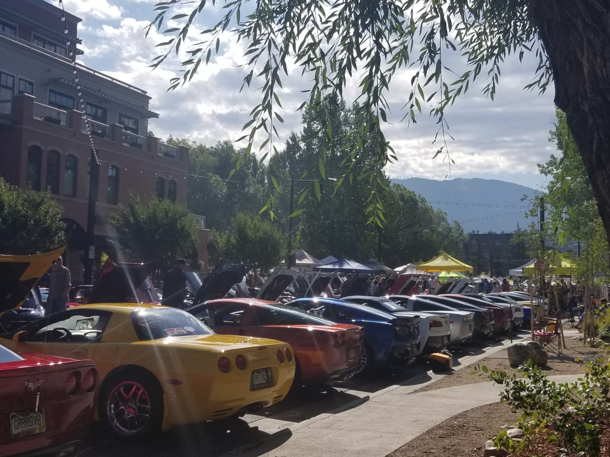 Corvettes line Yampa Street for Vettes on the Rockies.