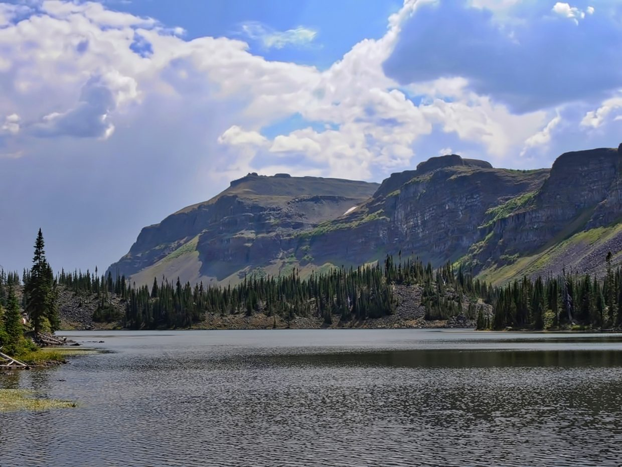 Clear skies are visible at Hooper Lake in the Flat Tops Wilderness Area.