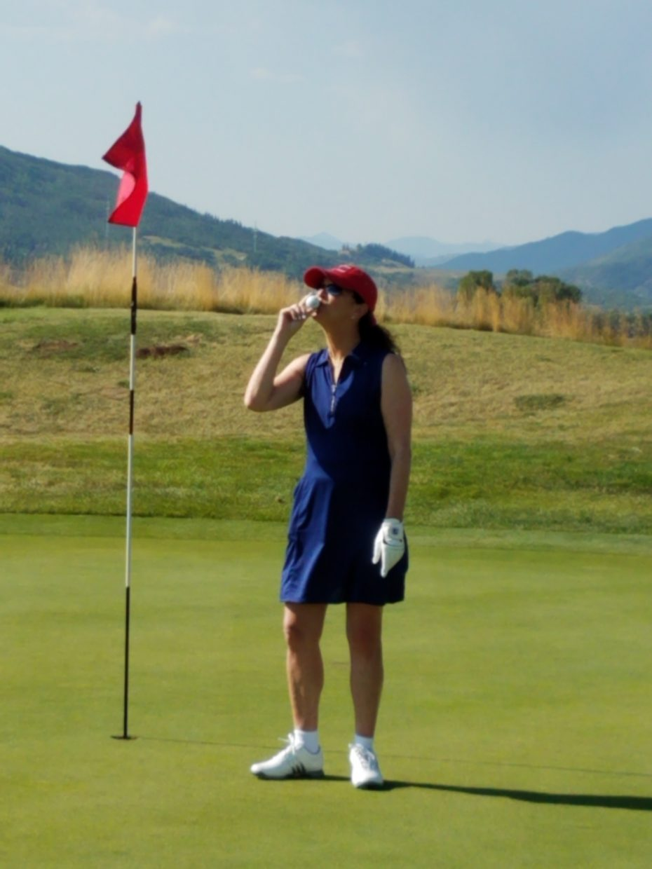 Alix Franzblau celibates her hole in one on hole number 7 at The Haymaker golf course today!