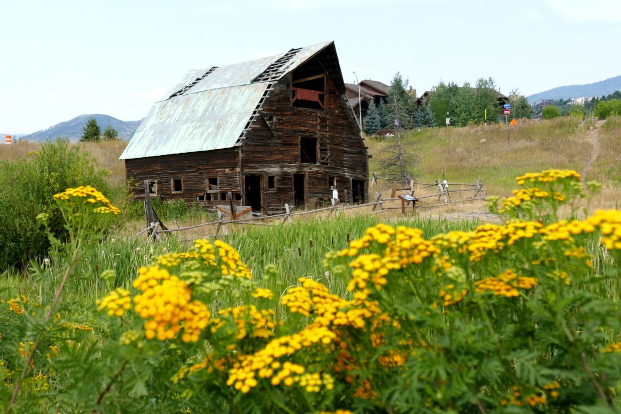 Flowers bloom around the Arnold Barn, which will be relocated to its new home at the corner of Mount Werner Road and Mount Werner Circle soon.