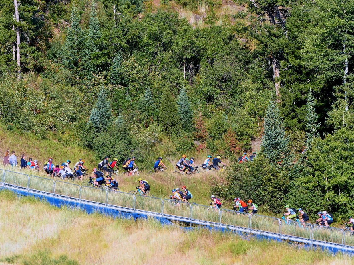 A bike race on historic Howelsen Hill today in Steamboat Springs. It's the Steamboat Stinger.). The big bee is BUZZ.