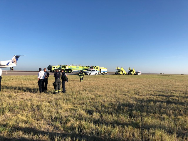 Hard landing on United Express Tuesday morning at Denver International, left Hayden at 6 a.m. with emergency evacuation on runway at 6:45 a.m. 43 passengers, 3 crew members. No injuries.