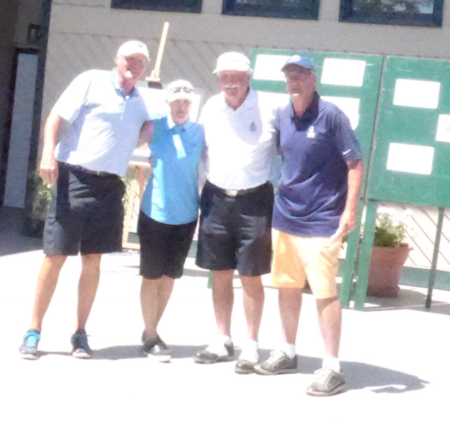Winners of the Doak Walker/Vern Lundquist Invitational Golf Tournament at Rolling Stone Golf Club, Monday July 30th are, from left to right, Lyle Halback, Lori Phillips, Tommy Sandoz and Phil Weidinger