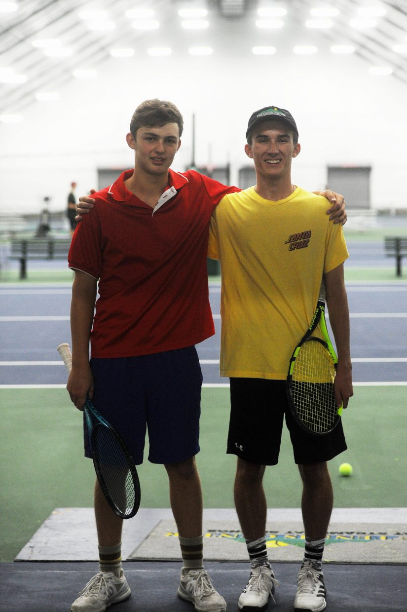 Freshman Andy Schiuling (left) and senior Ethan Paulus (right) are the top two singles players for the Steamboat Springs High School tennis team.