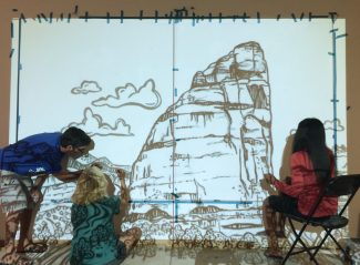 Celebrate the Yampa is Wild mural at Mountain Tap party