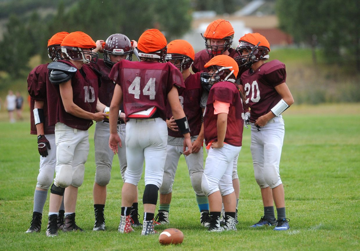 Soroco's offense huddles together in a scrimmage at practice Aug. 22 at Soroco High School. The Rams will host South Park on Friday, Aug. 24 in their season opener.