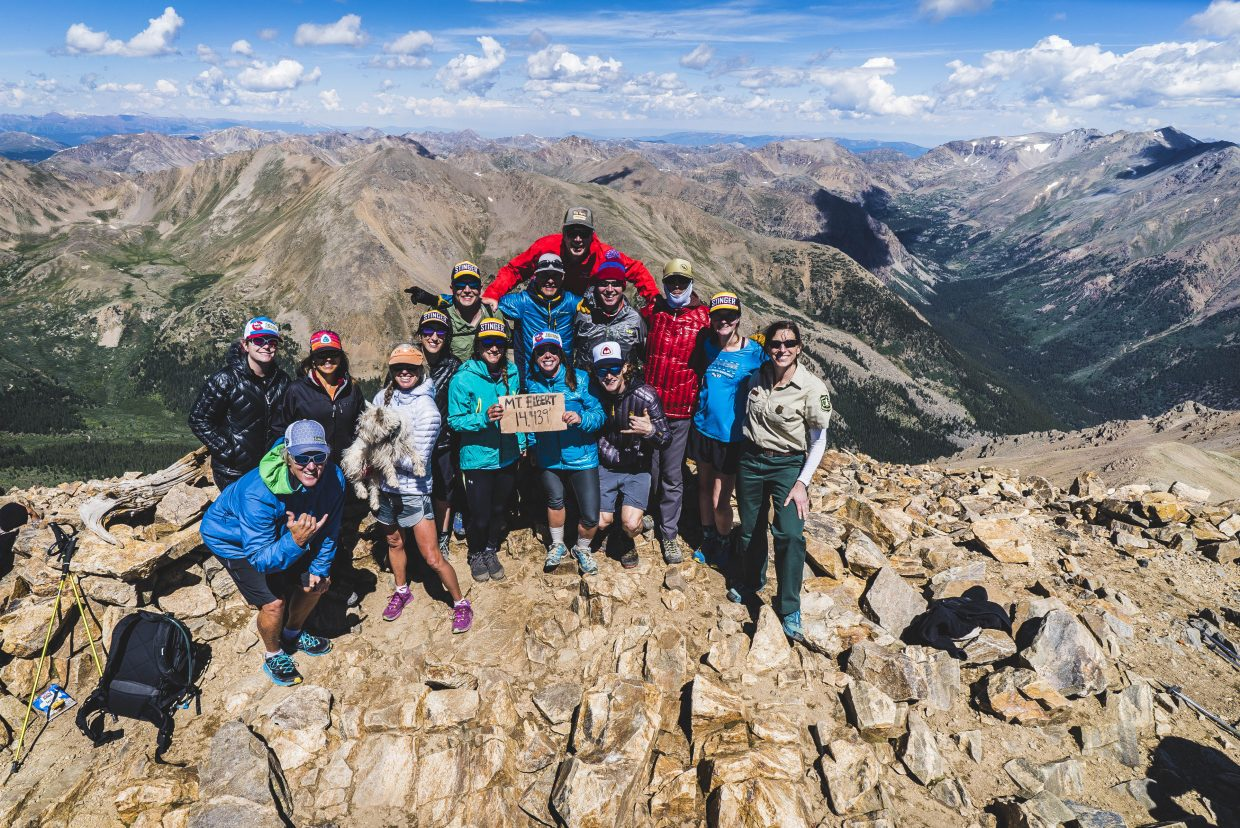 Big Agnes and Honey Stinger employees summit Mount Elbert.