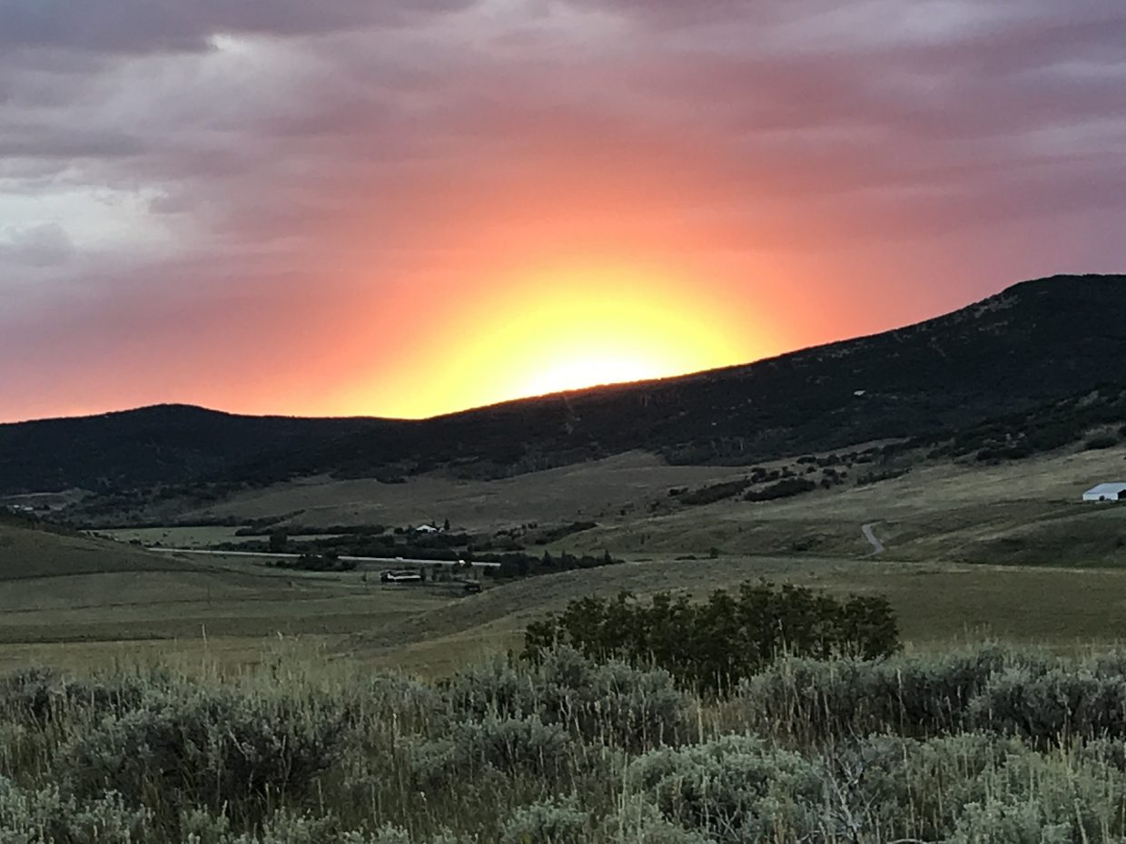 Final sunset of August 2018 from Routt County Road 14D.