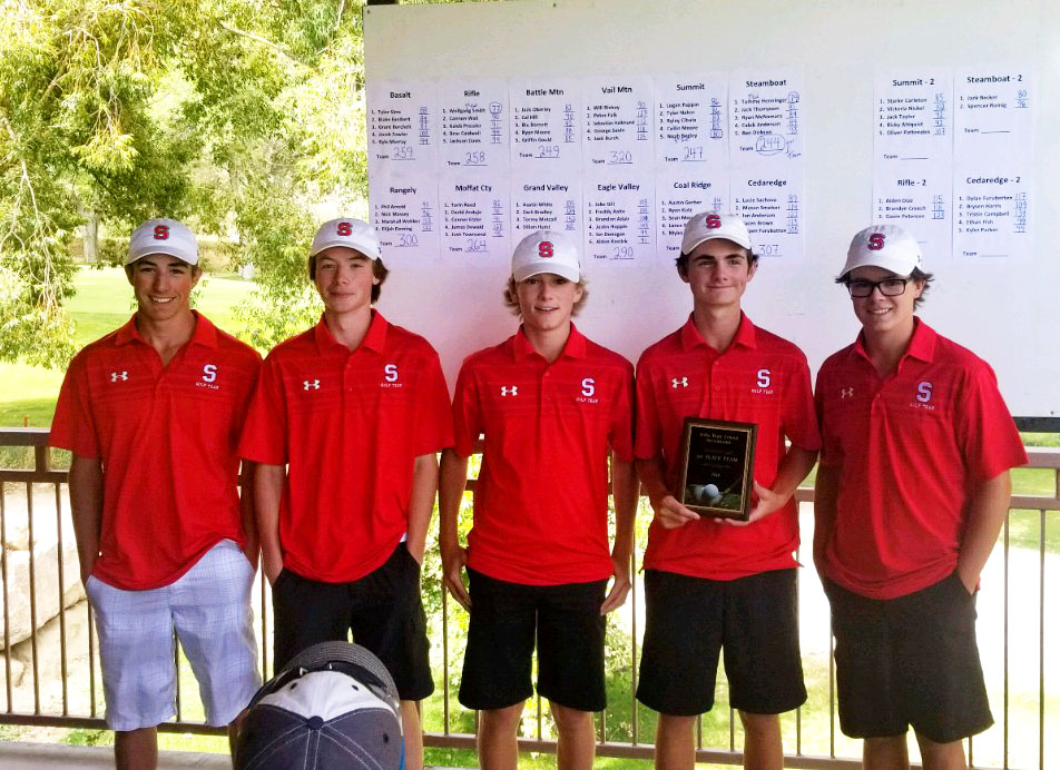 The Steamboat Springs High School golf team took first overall at the Rifle Bears Invitational on Aug. 28. From left to right: senior Caleb Anderson, senior Ben Dickson, sophomore Ryan McNamara, junior Jack Thompson and junior Tommy Henninger.