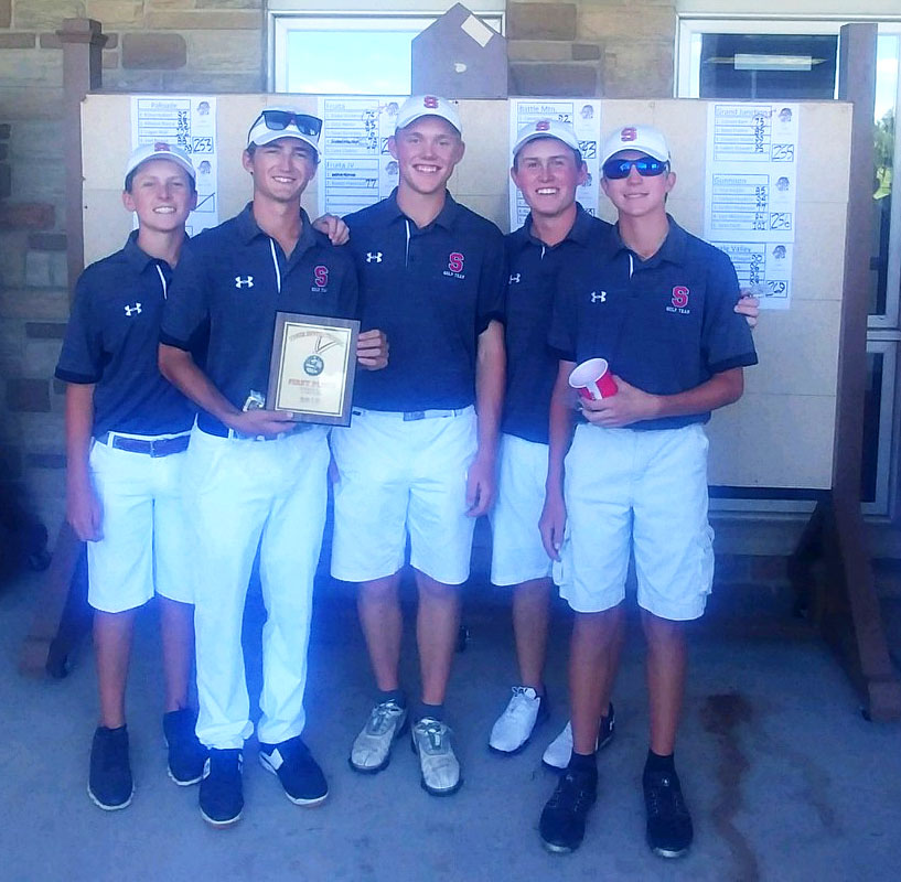Steamboat Springs High School placed first overall as a team in at GJ Tiger Invitational at Bookcliff Country Club in Grand Junction, Colorado. From left to right: Sophomore Ollie Rotermund, senior Zach Walsh, senior Colton Sankey, senior Jack Rotermund and freshman Travis Seitz stand with the plaque. Ollie also placed first as an individual shooting 71.