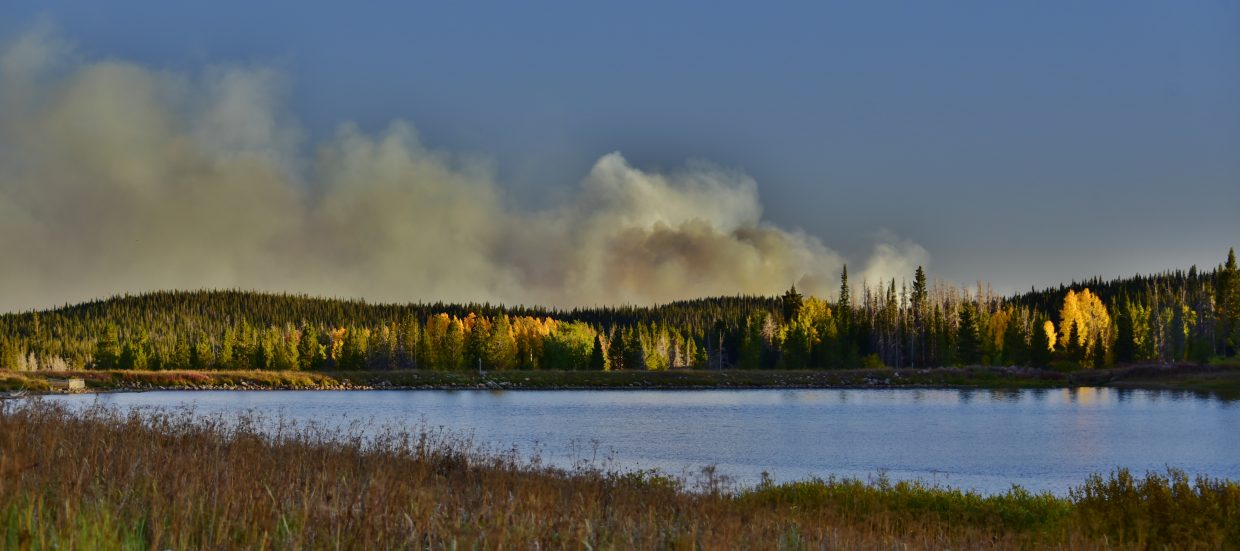 Smoke from the Silver Creek Fire is visible from Dumont Lake.