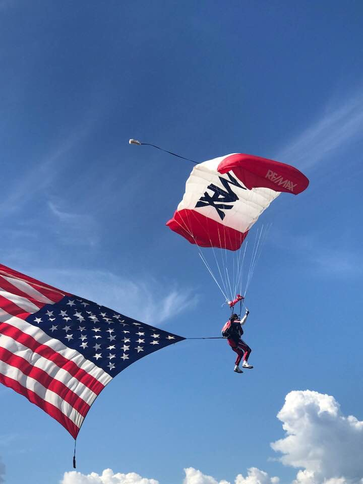 A man parachutes down during the Wild West Air Show in Steamboat Springs on Saturday.