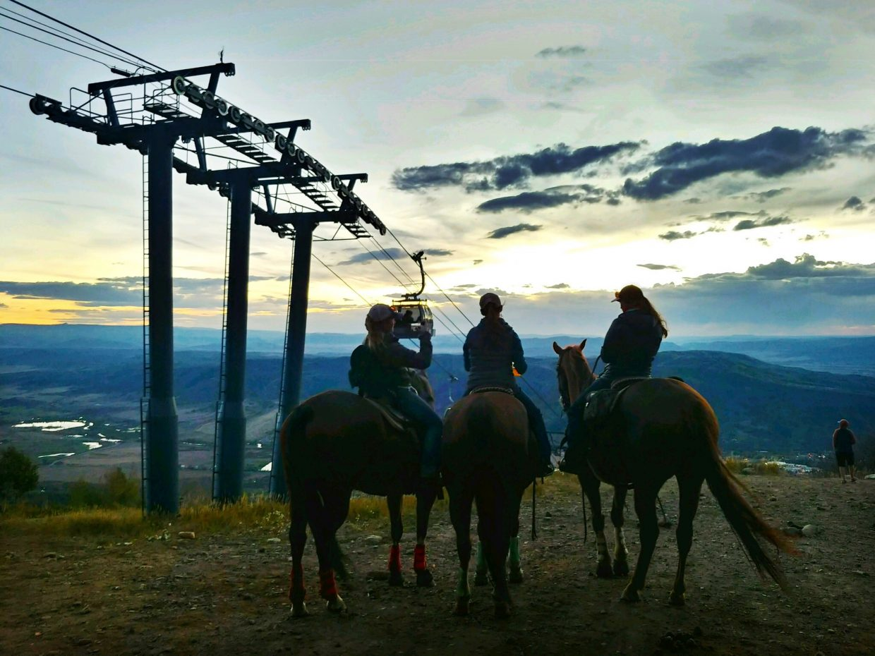 Trail Ride to Sunset Happy Hour at Steamboat Ski Area.