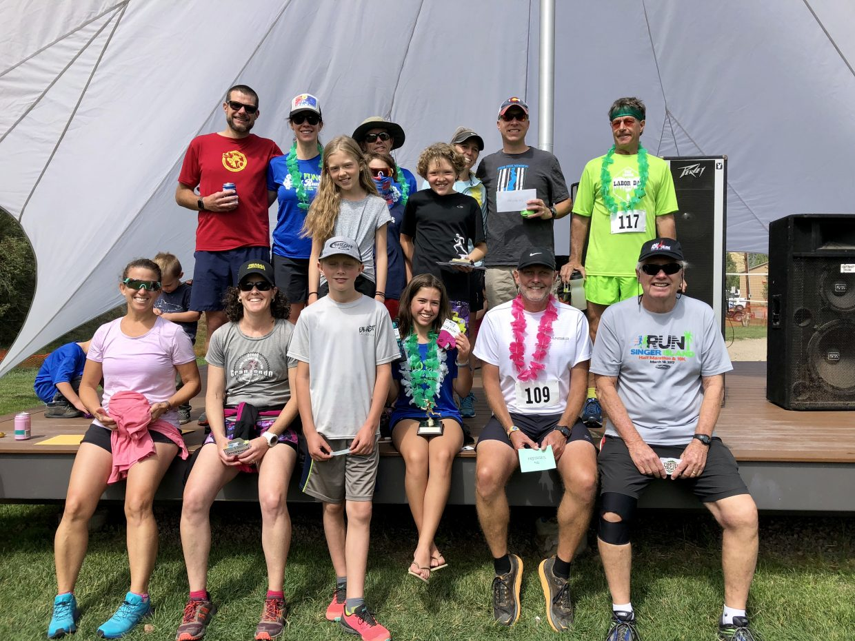 Participants of the 6th Annual Oak Creek No Fun Run pose for a picture after the race.