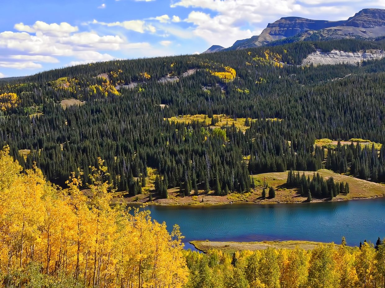 Falls shows its vivid colors at Bear Lake in the Flat Tops Wilderness Area.