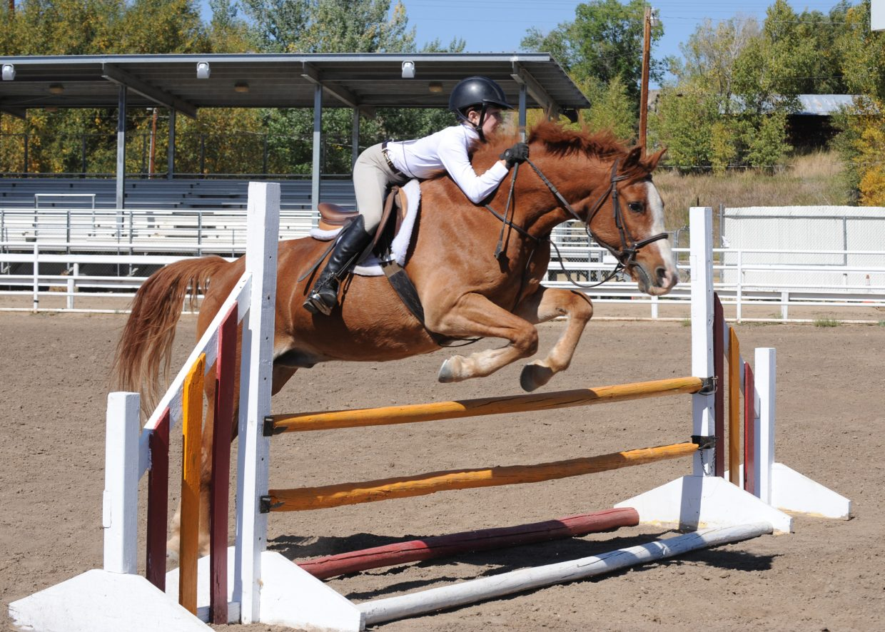At the horse show in Hayden on Saturday. Savannah Duckels in a jumping class.