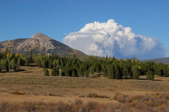 Smoke from the Ryan Fire is visible over Hahns Peak.