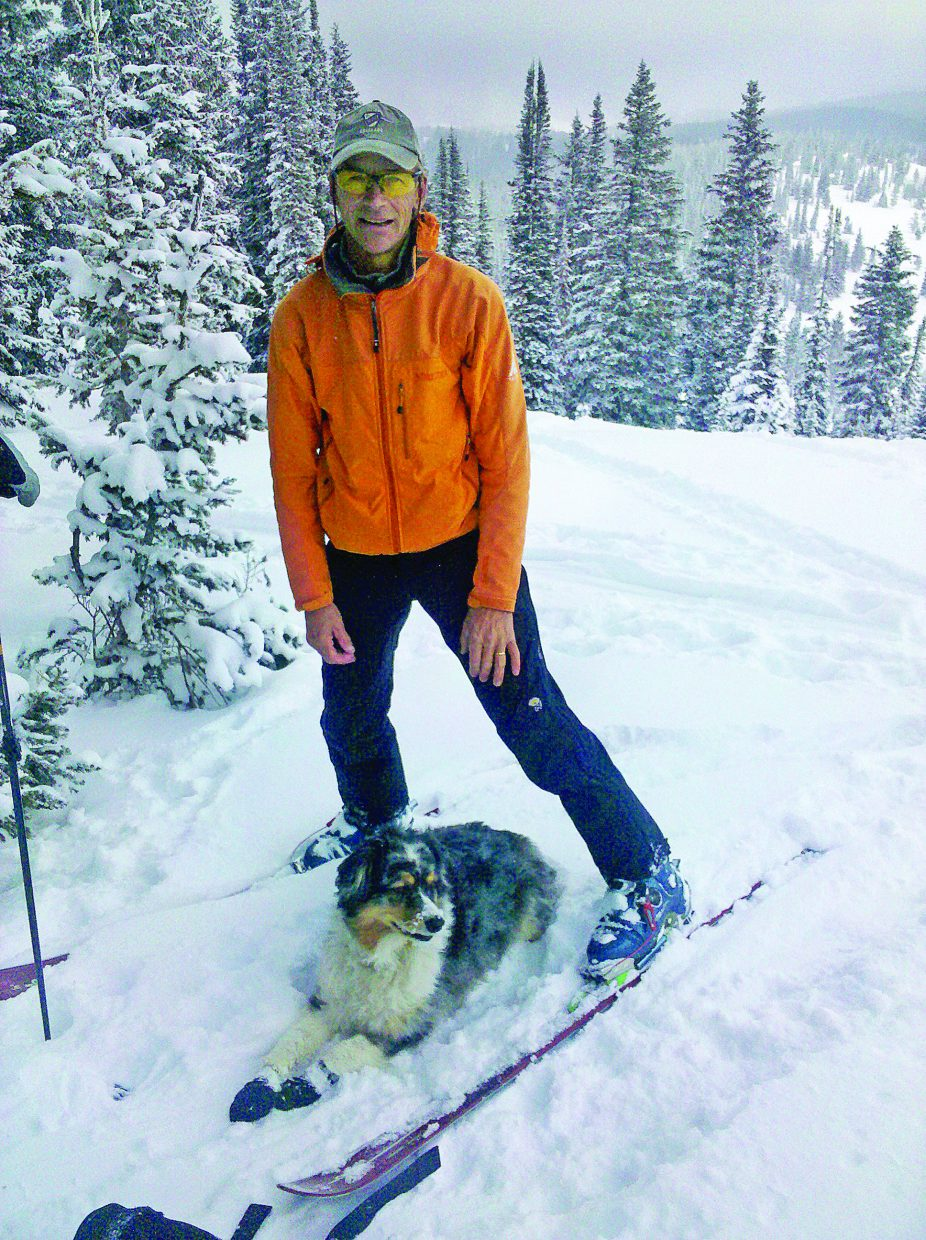 Marc Sehler with his dog in the backcountry near Steamboat Springs.
