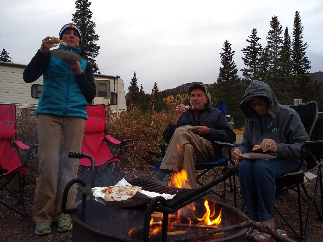 Family camping in the Flat Tops Wilderness Area.