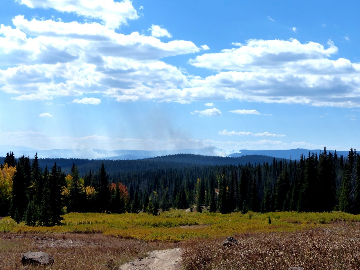The Silver Creek Fire can be seen from Rabbit Ears Pass.