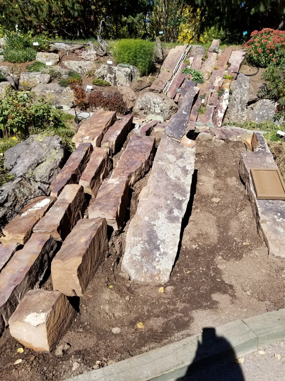 A new crevice garden being built at the Yampa River Botanic Garden.