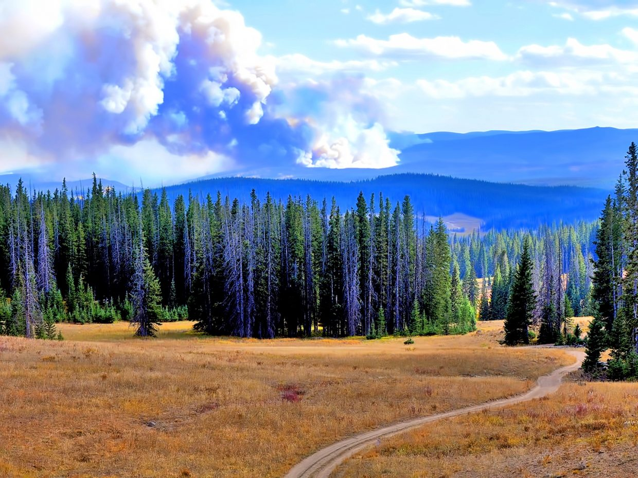 Smoke from the Silver Creek Fire is visible from Rabbit Ears Pass.