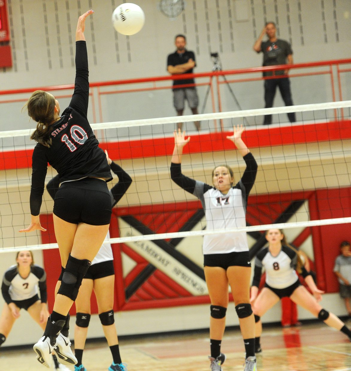 Steamboat Springs senior Anna Allsberry lines a kill against Eagle Valley at home on Thursday, Sept. 13.